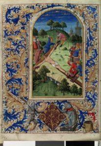 Psaultier. La mise en Crois au sol. XVe siècle. Miniature. Vienne, Österreichische Nationalbibliothek.
