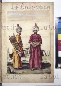 L'Aga (ou Agha) des janissaires. XVIe siècle. Miniature. Vienne, Österreichische Nationalbibliothek.