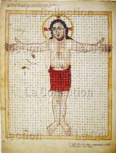 Prière de la Sainte Croix. Poésie iconique avec le Christ crucifié. IXe siècle. Miniature. Vienne, Österreichische Nationalbibliothek.