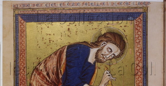 Bible moralisée. Dieu, créateur du monde. Entre 1325 1350. Miniature. Vienne, Österreichische Nationalbibliothek.