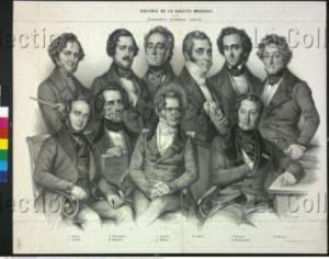 Portraits des compositeurs illustrant le milieu musical contemporain parisien. 1844. Gravure. Vienne, Österreichische Nationalbibliothek.