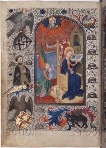 Livre de Prières de Montfort. L'Annonciation. 1450. Miniature. Vienne, Österreichische Nationalbibliothek.