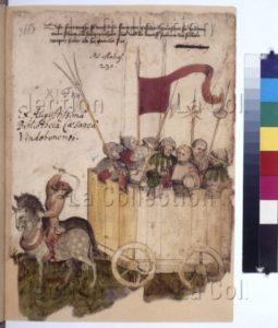 Bellifortis (Manuel de technologie militaire). Chariot transportant des lansquenets. Vers 1430. Miniature. Vienne, Österreichische Nationalbibliothek.