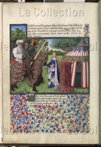 Livre du cœur d'Amour épris (René d'Anjou I). Dame Espérance reçoit Cœur et Désir devant sa tente. Vers 1457 1470. Miniature. Vienne, Österreichische Nationalbibliothek.