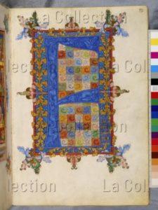 """Johannes von Troppau. Evangéliaire. Initiale """"F"""" marquant le début de l'évangile de saint Luc. 1386. Miniature. Vienne, Österreichische Nationalbibliothek."""