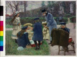 L'Empereur François Joseph à Wallsee offrant des oeufs de Pâques à ses petits enfants. Gravure. Vienne, Österreichische Nationalbibliothek.