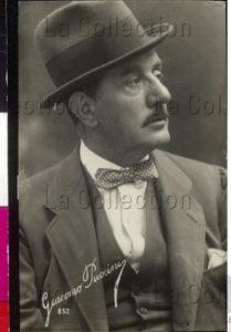 Portrait de Giacomo Puccini, compositeur italien. Vers 1920. Photographie. Vienne, Österreichische Nationalbibliothek.