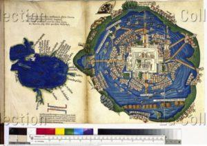 Plan de Tenochtitlan (Mexico) et croquis des Caraïbes. vers 1522. Gravure. Vienne, Österreichische Nationalbibliothek.