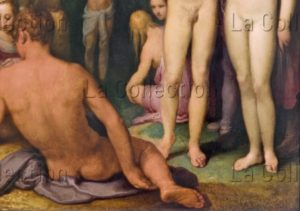 Van Haarlem, Cornelis. Le Baptême Du Christ. Détail : Homme De Dos Et Corps D'Adam Et Eve. Vers 1600 1602. Peinture. Paris, Musée Du Louvre.
