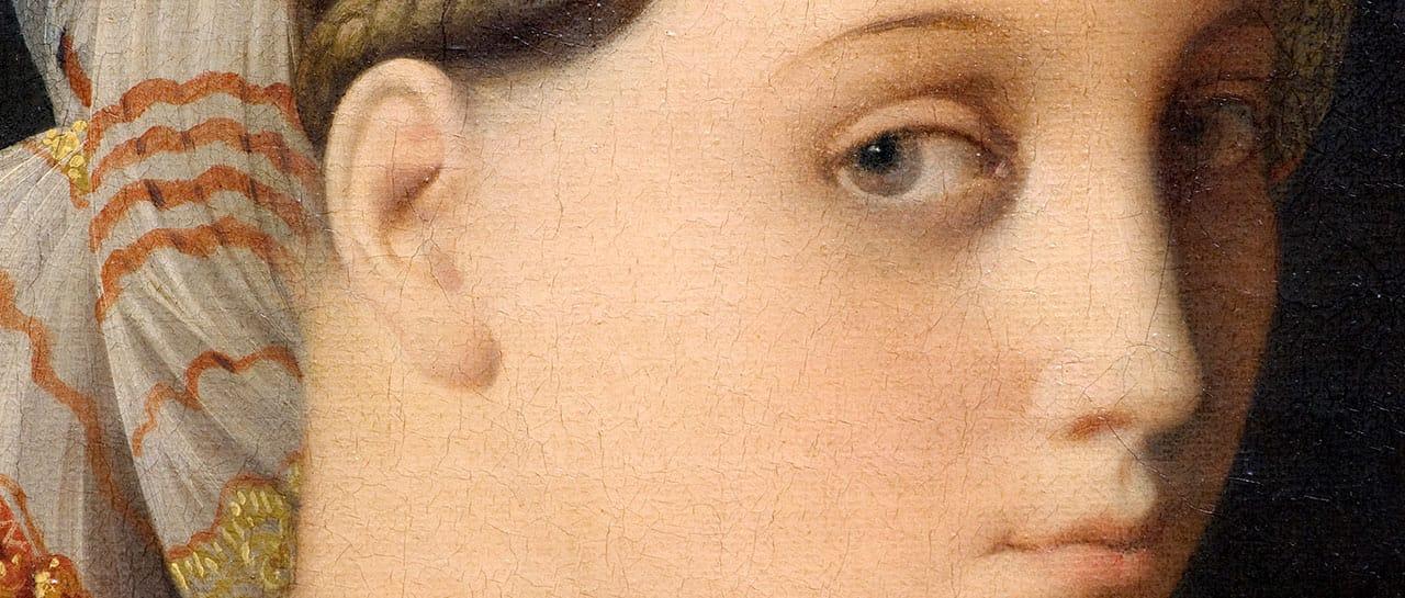 Jean-Auguste-Dominique Ingres. Détail du visage de la Grande Odalisque. 1814. Paris, Musée du Louvre<br /> © Lois Lammerhuber - Photoagentur Lammerhuber / LA COLLECTION