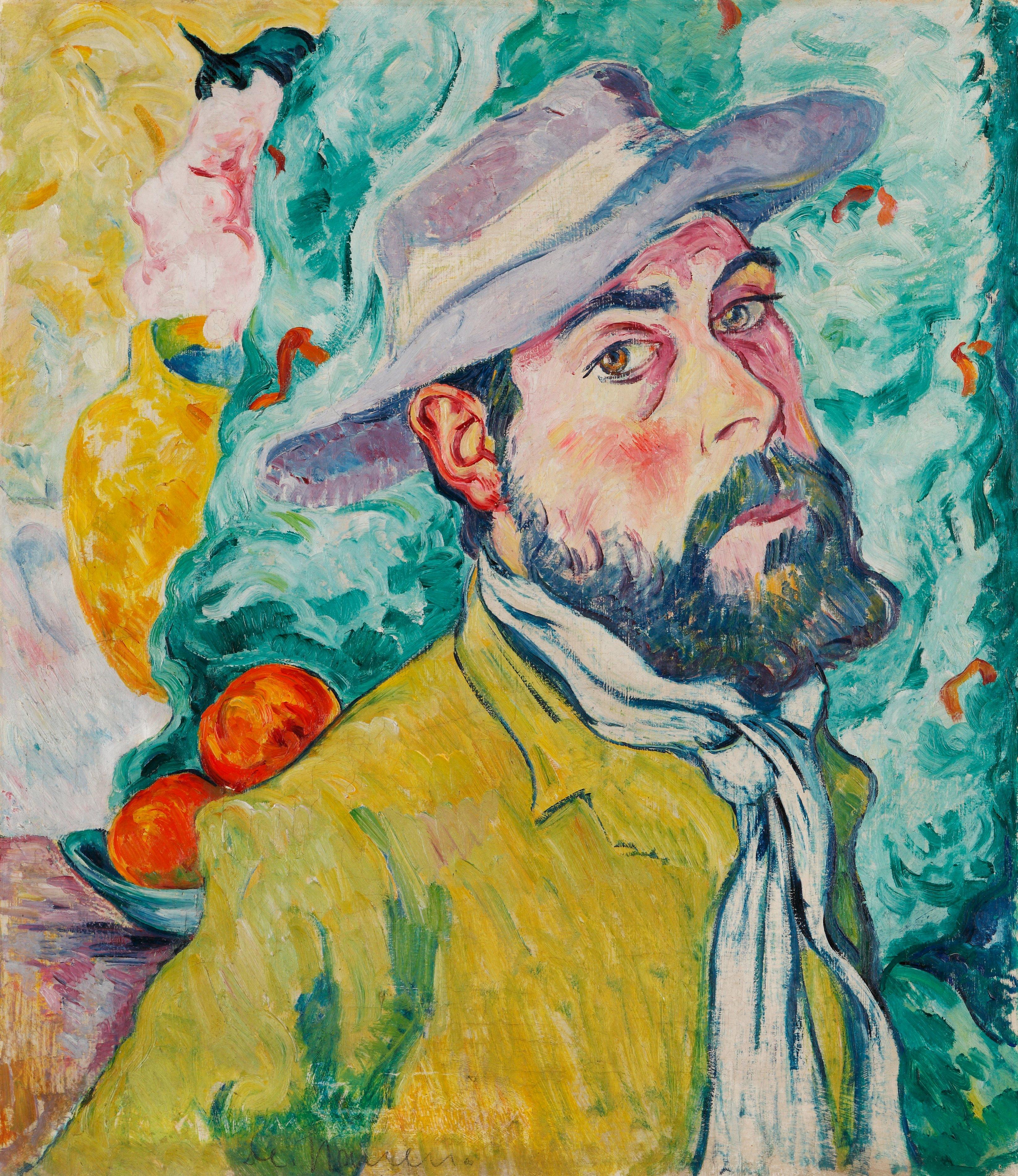Nauen, Heinrich. Autoportrait avec chapeau. Vers 1909. Peinture. Krefeld, Kunstmuseen.