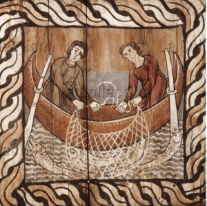 Zillis. Eglise Saint Martin. Plafond. Pêcheurs avec des filets. XIIe siècle. Peinture.