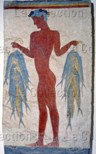 Art cycladique. Age du Bronze. Jeune pêcheur tenant des poissons. Vers 1450 avt JC. Peinture murale. Athènes, Musée national archéologique.