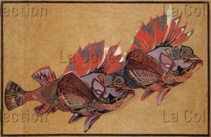 Prikker, Johan (Jan) Thorn. Fliegende Fische (Poissons volants). 1904. Dessin. Krefeld, Kunstmuseen.