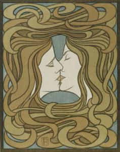 Behrens, Peter. Le baiser. 1898. Gravure. Munich, Bayerische Staatsgraphische Sammlungen.