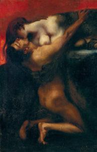 Stuck, Franz von. Le baiser du sphinx. 1895. Peinture. Budapest, Musée des Beaux-Arts.