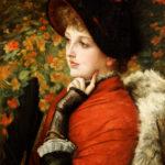 Tissot, James. Portrait de Kathleen Newton dans un vêtement rouge et avec une coiffe noire. 1880. Peinture. Collection particulière.
