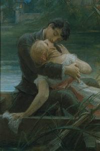 Pirner, Maximilian. Couple d'amoureux en barque. Fin XIXe-début XXe siècle. Peinture. Prague, Narodni Galerie.