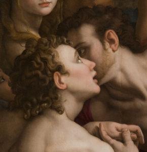Bronzino. La Descente aux Limbes. Détail : deux hommes. 1552. Peinture. Florence, Musée de Santa Croce.