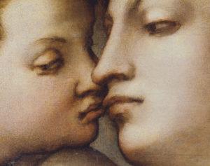 Pontormo. Vénus et Amour. Détail : baiser d'Amour et de Vénus. Vers 1533. Peinture. Florence. Galerie de l'Académie.