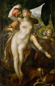 Spranger, Bartholomeus. Vénus et Adonis. 1595. Peinture. Vienne. Kunsthistorisches Museum.