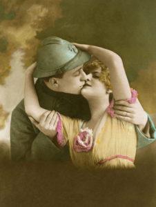 Première Guerre mondiale. Vie militaire. La Déclaration d'amour. 1917. Photographie. Collection particulière.