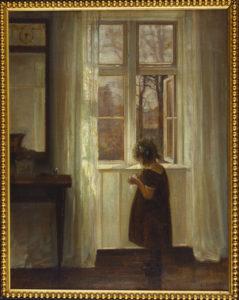 Holsoe, Carl. Fillette près d'une fenêtre. Vers 1930. Peinture. Collection particulière.