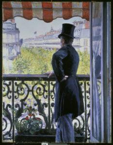Caillebotte, Gustave. L'homme au balcon, boulevard Haussmann. 1880. Peinture. Collection particulière.