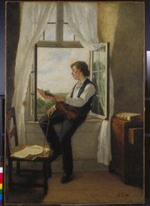 Scholderer, Otto Franz. Le violoniste à la fenêtre. 1861. Peinture. Francfort/Main, Städel Museum.