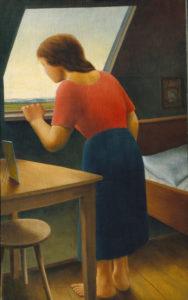Schrimpf, Georg. Mädchen am Fenster (Am Morgen) (Fille à la fenêtre - Le matin). 1925. Peinture. Bâle, Kunstmuseum.
