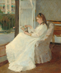 Morisot, Berthe. La Sœur de l'artiste à la fenêtre. 1869. Peinture.
