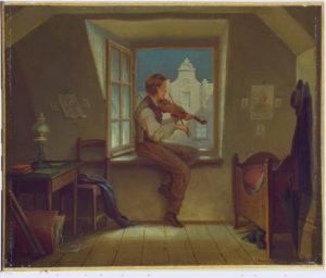 Schwind, Moritz von. Violoniste à la fenêtre. XIXe siècle. Peinture. Schweinfurt, Museum Georg Schäfer.