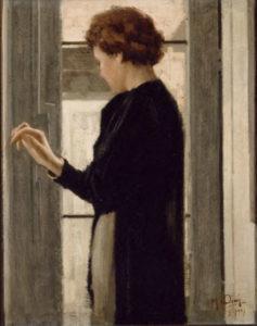 Ciani, Manlio. Donna al balcone (Femme au balcon). 1937. Peinture. Naples, Collection de la Banque de Naples (Banco di Napoli).
