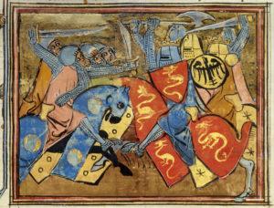 Combat de chevaliers. Vers 1280. Miniature. Paris, Bibliothèque Nationale de France.
