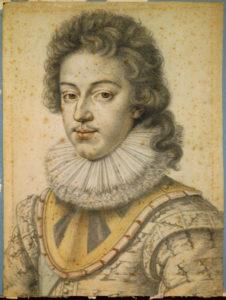 Daniel Dusmontier. Louis XIII à 21 ans. 1ère moitié XVIIe siècle. Dessin. Chantilly, Musée Condé.