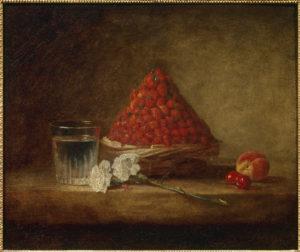 Jean-Baptiste Chardin. Panier de fraises des bois. XVIIIe siècle. Peinture. Collection particulière.