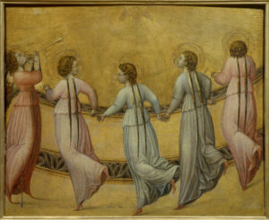 Anonyme italien. Cinq anges dansant devant le soleil. XVe siècle. Peinture. Chantilly, Musée Condé.