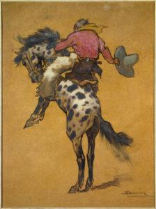 Henri Deluermoz. Cow boy sur un cheval bronco cabré. 1920-1925. La Rochelle, Musée du Nouveau Monde.