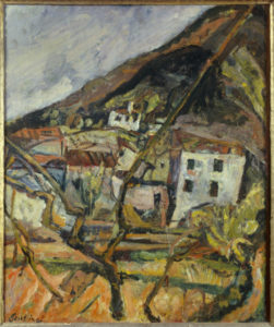 Chaim Soutine. Vue d'un village, paysage à Céret. 1919. Peinture. Avignon. Musée Calvet.