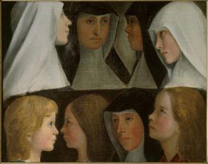 Anonyme allemand. Etudes de religieuses postulantes et novices de l'ordre de Saint-Benoît. Peinture. Roanne, Musée Joseph Déchelette.