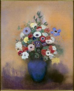Odilon Redon. Grand bouquet au vase bleu. 1912. Dessin. Paris, Musée du Petit Palais.