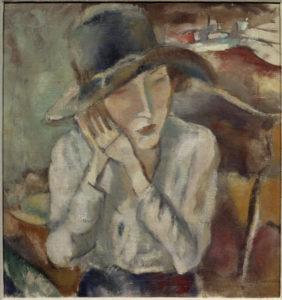 Jules Pascin. Portrait d'Hermine au grand chapeau. 1917. Peinture. Grenoble, Musée des Beaux-Arts.