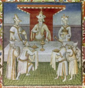 Maître de la Mazarine. Livre des Merveilles. Le repas à la table du Grand Khan. 1298. Miniature. Paris, Bibliothèque Nationale de France.