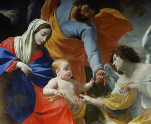 Simon Vouet. Le repos de la Sainte Famille. 1638-1639. Peinture. Grenoble, Musée des Beaux-Arts.