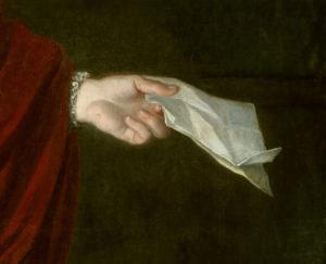 Anonyme. Portrait du Cardinal Pierre du Cambout de Coislin. Détail. Peinture. Sully-sur-Loire, Château.