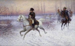 Van Chelminski, Jan. Napoléon avec un groupe de cavaliers. Fin XIXe-début XXe siècle. Peinture. Collection particulière.