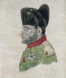 Caricature de Napoléon Ier. Vers 1813. Gravure. Paris. Bibliothèque nationale de France.