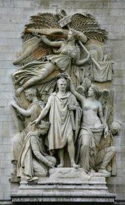France. Paris. Arc de triomphe de l'Etoile. Cortot, Jean-Pierre. Détail : le Triomphe de 1810 ou l'Apothéose de Napoléon Ier. 1833-1837. Sculpture.