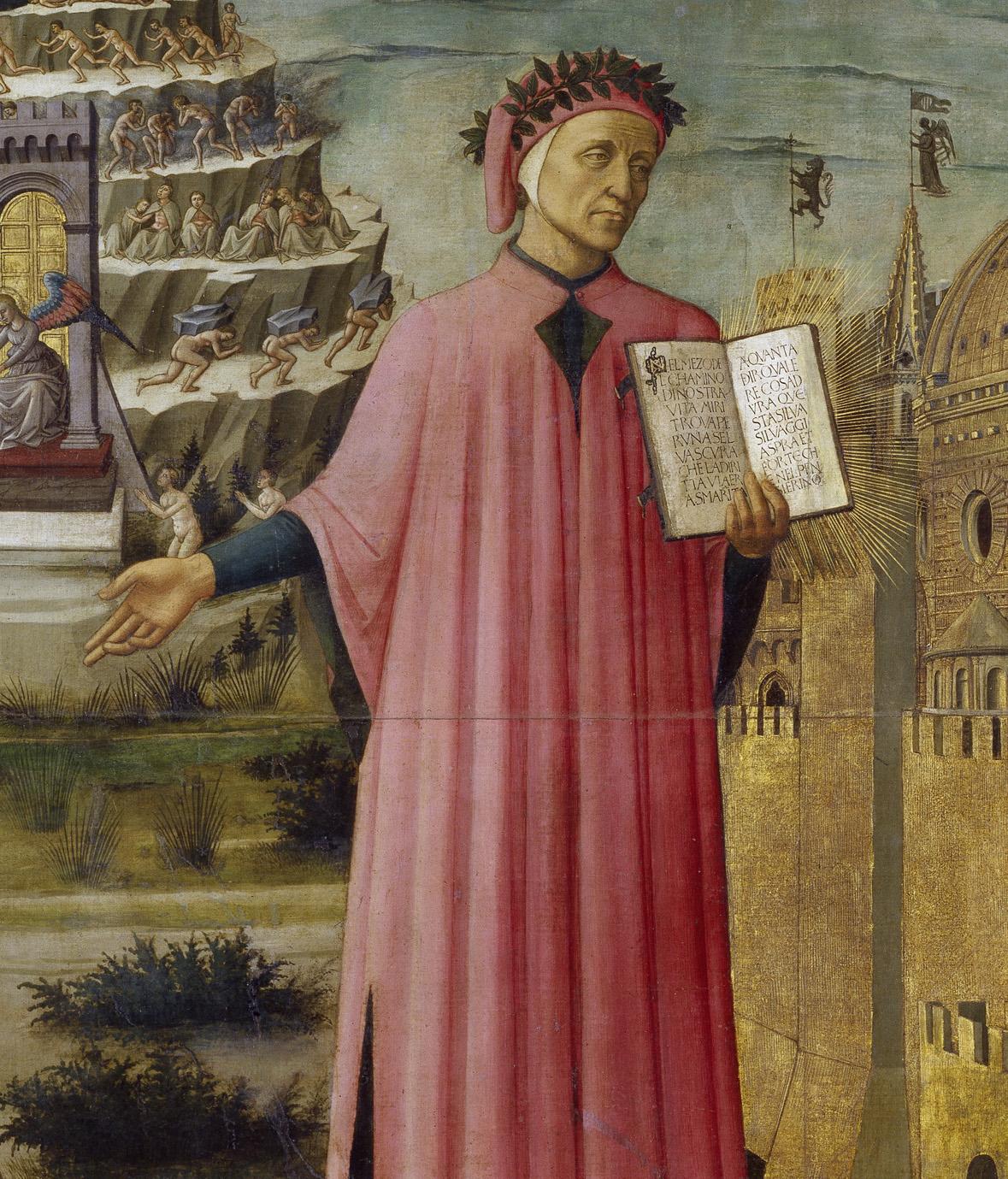 Domenico di Michelino. Dante tenant le livre de la Divine Comédie. 1465. Peinture. Florence. Duomo.