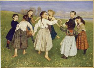 Hans Thoma. Une ronde d'enfants. 1872. Peinture. Karlsruhe. Staatliche Kunsthalle.